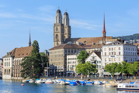 grossmunster cathedral: Zurich, Switzerland - 16 July, 2015: view on the Limmatquai quay. Zurich is the largest city in Switzerland and the capital of the Canton of Zurich.
