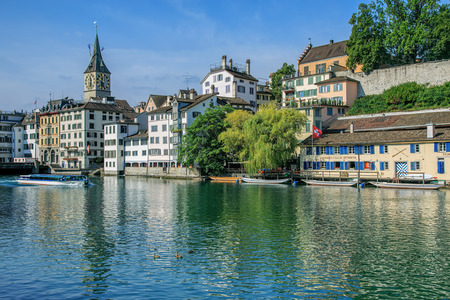 felix: Zurich, Switzerland - 9 August, 2015: view on the Limmat river and the Schipfe quarter with the Felix ship passing. Zurich is the largest city in Switzerland and the capital of the Canton of Zurich. Editorial