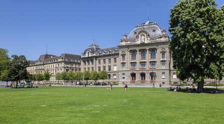 front stoop: Bern, Switzerland - 11 June, 2014: the University of Bern building. The University of Bern is a university in the Swiss capital of Bern, founded in 1834, regulated and financed by the Canton of Bern. Editorial