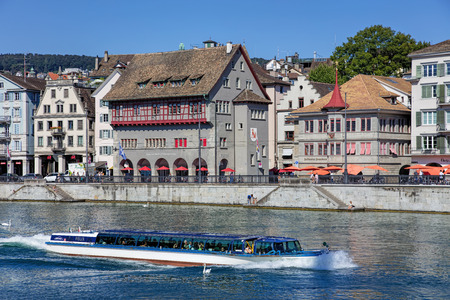 felix: Zurich, Switzerland - 21 August, 2015: Felix ship passing along the Limmat river. Zurich is the largest city in Switzerland and the capital of the Canton of Zurich.