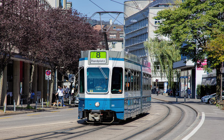 make public: Zurich, Switzerland - 21 August, 2015: tram on the Bleicherweg street. Trams make an important contribution to public transport in the city of Zurich and are a consistent part of Zurichs cityscape since the 1880s, when the first horse tram ran electrifie Editorial