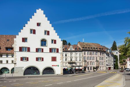 platz: Schaffhausen, Switzerland - 26 August, 2015: view on the Freier Platz square. Schaffhausen is a city in northern Switzerland and the capital of the canton of the same name.