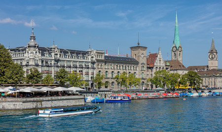 felix: Zurich, Switzerland - 31 August, 2015: view on the Limmat river with Felix ship passing. Zurich is the largest city in Switzerland and the capital of the canton of Zurich. Editorial