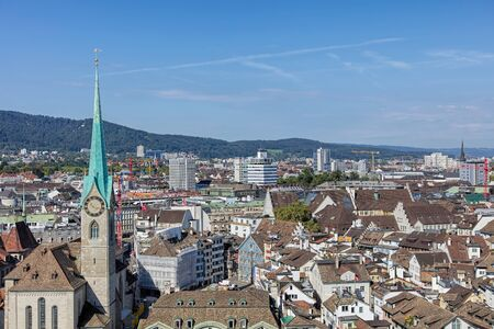 grossmunster cathedral: Zurich, Switzerland - 31 August, 2015: view from the tower of the Grossmunster cathedral. Zurich is the largest city in Switzerland and the capital of the canton of Zurich.