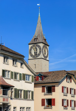 st peter: Tower of the St. Peter Church in Zurich, Switzerland.