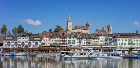 st gallen: Rapperswil, Switzerland - 8 September, 2015: view on the Seequai quay. Rapperswil is a part of the municipality of Rapperswil-Jona in the canton of St. Gallen in Switzerland, located at the east side of the Lake Zurich. Editorial