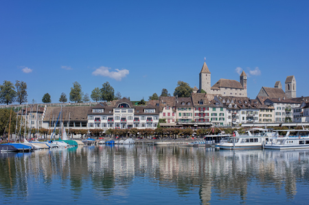 Rapperswil, Switzerland - 8 September, 2015: view on the Seequai quay. Rapperswil is a part of the municipality of Rapperswil-Jona in the canton of St. Gallen in Switzerland, located at the east side of the Lake Zurich. Editorial