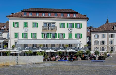 Rapperswil, Switzerland - 8 September, 2015: view on the Fischmarktplaz square. Rapperswil is a part of the municipality of Rapperswil-Jona in the canton of St. Gallen, located at the east side of the Lake Zurich. Editorial