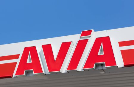 avia: Einsiedeln, Switzerland - 7 September, 2015: AVIA sign on the roof of the filling station. AVIA International is a headquartered in Zurich, Switzerland company, which is currently represented by more than 2900 petrol stations and over 80 member companies