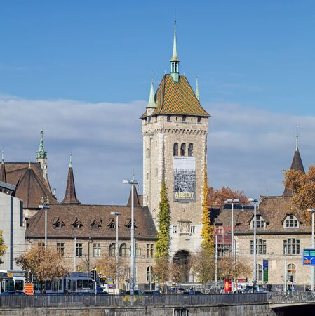 french renaissance: Zurich, Switzerland - 6 November, 2015: the Swiss National Museum German: Landesmuseum building, view from the Bahnhofbrucke bridge. The museum building of 1898 was built by Gustav Gull in the form of the French Renaissance city chateaus.