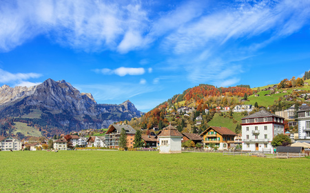 Engelberg, Switzerland - 12 October, 2015: view from the Engelbergstrasse street. Engelberg is a resort town and municipality in the canton of Obwalden.