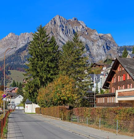 Autumn time view in Engelberg, Switzerland. Engelberg is a resort town and municipality in the canton of Obwalden. Stock Photo