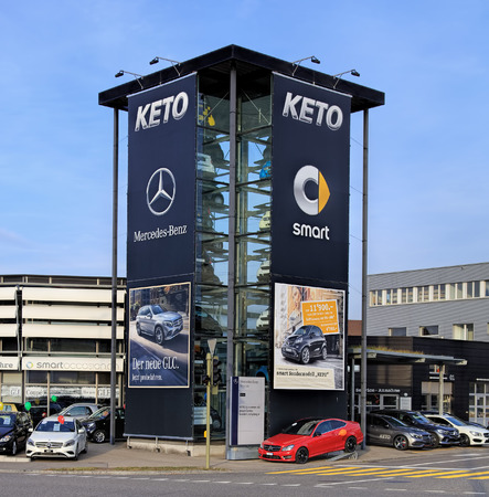 ag: Wallisellen, Switzerland - 13 November, 2015: KETO Autocenter AG smart Center Zurich-Wallisellen. KETO Autocenter AG provides authorized smart and Mercedes-Benz sales and services.