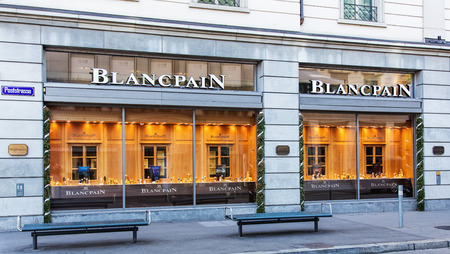 prestige: Zurich, Switzerland - 26 December, 2015: windows of the Blancpain store on the corner of the Bahnhofstrasse and Poststrasse streets, decorated for Christmas. Blancpain SA designs, manufactures, distributes, and sells prestige and luxury Swiss watches, it  Editorial