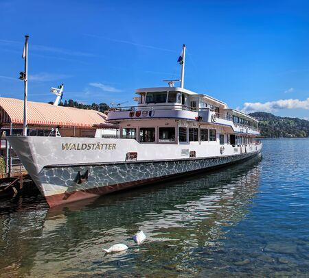 ms: Lucerne, Switzerland - 29 August, 2011: MS Waldstatter at the pier on the Lake Lucerne. Lake Lucerne German: Vierwaldstattersee - Four Forested-Cantons Lake is a lake in central Switzerland, the fourth largest in the country, with the maximum depth of 2 Editorial