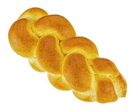 literally: Zopf bread isolated on white background. Zopf is a type of Swiss, Austrian or German bread made from white flour. The name Zopf is derived from the shape of the bread, and literally means braid.