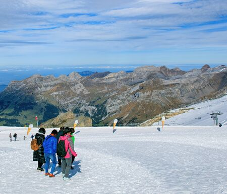 cantons: Mt. Titlis, Switzerland - 12 October, 2015: view on the top of the mountain. Titlis also Mount Titlis is a mountain of the Uri Alps, located on the border between the cantons of Obwalden and Bern. Editorial
