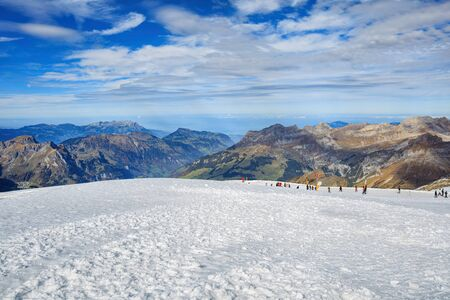cantons: Mt. Titlis, Switzerland - 12 October, 2015: view on the top of the mountain. Titlis (also Mount Titlis) is a mountain of the Uri Alps, located on the border between the cantons of Obwalden and Bern.