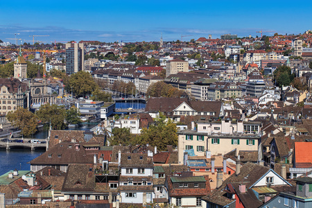 grossmunster cathedral: Zurich, Switzerland - 9 October, 2014: view on the city from the tower of the Grossmunster cathedral. Zurich is the largest city in Switzerland and the capital of the Swiss canton of Zurich. Editorial