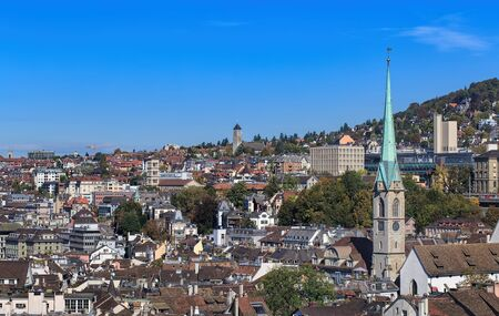 grossmunster cathedral: Autumn time view on the city of Zurich from the tower of the Grossmunster cathedral.