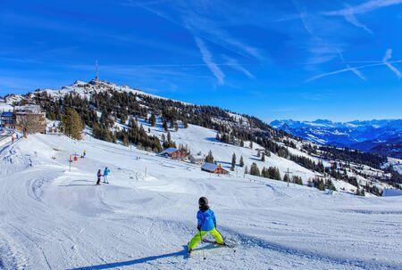 massif: Mt. Rigi, Switzerland - 25 January, 2016: ski track at the Rigi Staffel station of the Rigi Railways German: Rigi Bahnen. Mount Rigi, also known as Queen of the Mountains, is a mountain massif of the Alps, located in Central Switzerland.