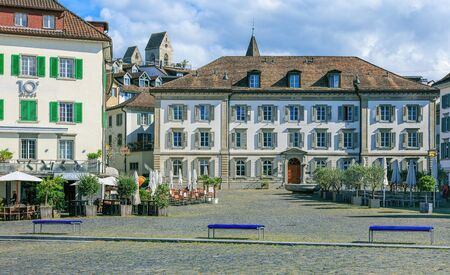 Rapperswil, Switzerland - 7 September, 2015: view on Fishmarktplatz square from the Seequai quay. City of Rapperswil is a part of the municipality of Rapperswil-Jona in the Swiss canton of St. Gallen, located on the east side of the Lake Zurich.