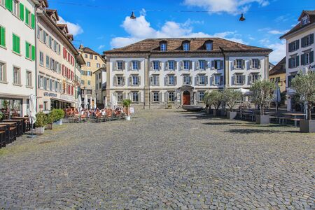 st gallen: Rapperswil, Switzerland - 7 September, 2015: view on Fishmarktplatz square. City of Rapperswil is a part of the municipality of Rapperswil-Jona in the Swiss canton of St. Gallen, located on the east side of the Lake Zurich.