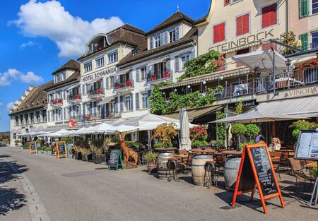 st gallen: Rapperswil, Switzerland - 7 September, 2015: buildings on the Seequai quay. City of Rapperswil is a part of the municipality of Rapperswil-Jona in the Swiss canton of St. Gallen, located on the east side of the Lake Zurich.