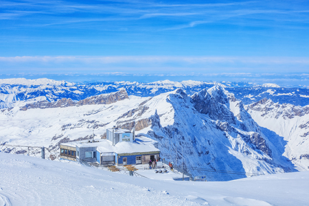 cantons: Mt. Titlis, Switzerland - 9 March, 2016: view on the top of the mountain. Titlis (also Mount Titlis) is a mountain of the Uri Alps, located on the border between the cantons of Obwalden and Berne. At 3,238 metres above sea level, it is the highest summit  Editorial