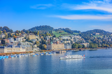ms: Lucerne, Switzerland - 3 October, 2015: view on Lake Lucerne with Ms. Gotthard approaching. Lucerne is a city in central Switzerland, it is the capital of the Canton of Lucerne and the capital of the district of the same name.