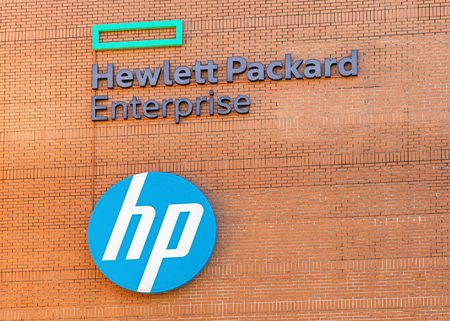 Dubendorf, Switzerland - 26 March, 2016: sign on the wall of the HP Switzerland GmbH office building. Hewlett Packard Enterprise (HPE) is a multinational information technology enterprise company, founded 1 November 2015 as part of the now-split Hewlett-P Sajtókép