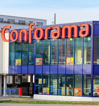 home furnishings: Wallisellen, Switzerland - 13 November, 2015: Conforama store building. Conforama is Europes second largest home furnishings retail chain with over 200 stores in France, Spain, Switzerland, Portugal, Luxembourg, Italy and Croatia. In 2011 it was acquired Editorial