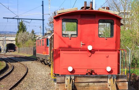front view: Front view of a small old locomotive. Stock Photo