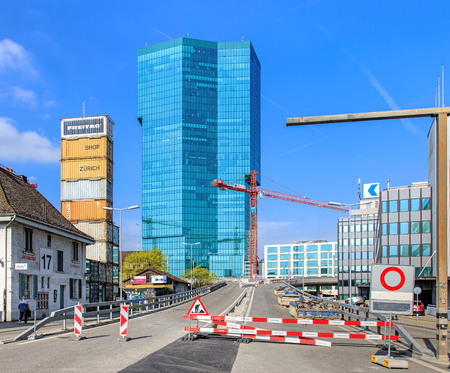road works: Zurich, Switzerland - 4 April, 2016: road works on the Geroldstrasse street. Zurich is the largest city in Switzerland and the capital of the Swiss canton of Zurich.