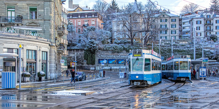 central square: Zurich, Switzerland - 1 February, 2015: Central square on the morning. Zurich is the largest city in Switzerland and the capital of the canton of Zurich.