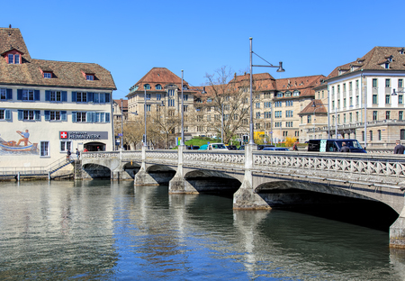 guilds: Zurich, Switzerland - 11 April, 2016: the Rufolf Brun bridge. Rudolf Brun (1290s -1360) was the leader of the Zurich guilds revolution of 1336 and the citys first independent mayor.