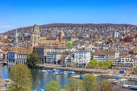 temporarily: Zurich, Switzerland - 11 April, 2016: view on the city from the Ferris wheel temporarily installed on Burkliplatz square. Zurich is the largest city in Switzerland and the capital of the Swiss canton of Zurich. Editorial