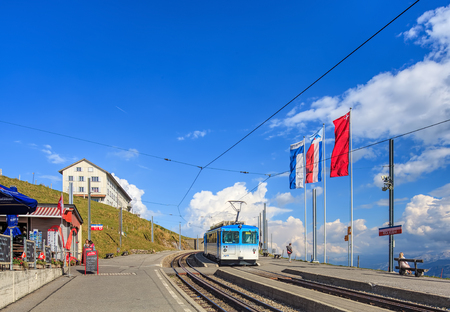 rack mount: Mt. Rigi, Switzerland - 8 September, 2014: Rigi Kulm train station on the top of the mountain. Mt. Rigi is a mountain massif of the Alps, located in central Switzerland and a well-known tourist destination, usually accessed by the rack railways from Arth-