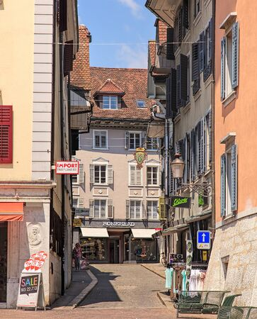 Solothurn, Switzerland - 19 July, 2013: stores in the old town. The city of Solothurn is the capital of the Swiss Canton of Solothurn and is also the only municipality of the district of the same name.