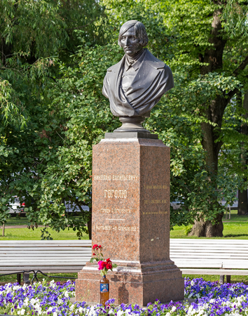 dramatist: Saint Petersburg, Russia - 9 July, 2015: bust of Nikolai Gogol in Aleksandrovsky garden at the Admiralty building. Nikolai Vasilievich Gogol (1809 - 1852) was a Russian dramatist, novelist and short story writer of Ukrainian ethnicity. Editorial