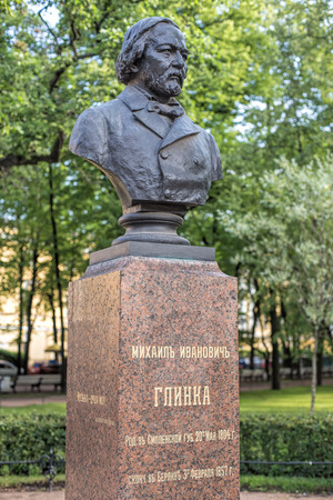 mikhail: Saint Petersburg, Russia - 9 July, 2015: bust of Mikhail Glinka in Aleksandrovsky garden at the Admiralty building. Mikhail Ivanovich Glinka (1804-1857) was the first Russian composer to gain wide recognition within his own country.