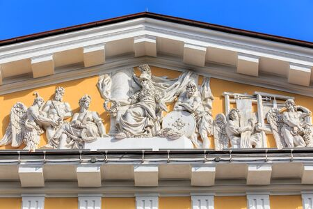 headquarter: Sculptures above the entrance of the Admiralty building in Saint Petersburg, Russia. The Admiralty building is the former headquarter of the Admiralty Board and the Imperial Russian Navy and the current headquarter of the Russian Navy.