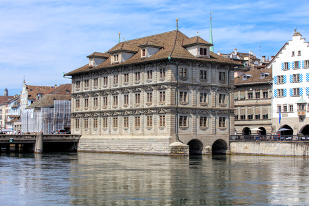 Zurich, Switzerland - 25 May, 2016: Zurich Town Hall building (German: Rathaus). Zurich Town Hall was built during the period from 1694-1698 and currently houses the cantonal parliament (German: Kantonsrat) and the City Parliament (German: Gemeinderat). Editorial