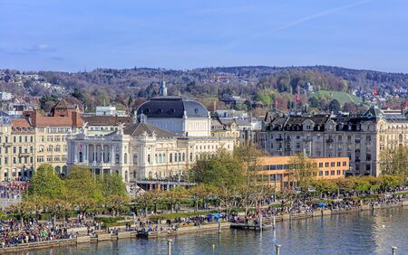 temporarily: Zurich, Switzerland - 10 April, 2016: view on Utoquai quay from a Ferris wheel temporarily installed on Burkliplatz square. Zurich is the largest city in Switzerland and the capital of the Swiss canton of Zurich. Editorial