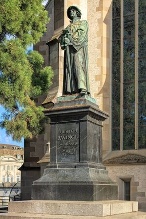 Statue of Ulrich Zwingli at the Water Church (German: Wasserkirche). The bronze statue by sculptor Heinrich Natter was unveiled in 1885.