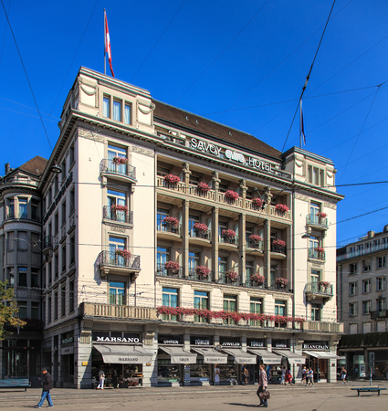 Zurich, Switzerland - 21 August, 2015: Hotel Savoy Baur en Ville building, view from Paradeplatz square. Hotel Savoy Baur en Ville is luxurious five star hotel, situated in the center of Zurichs downtown.