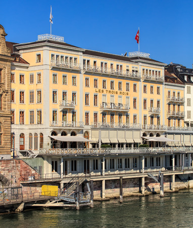 three kings: Basel, Switzerland - 27 August, 2016: Grand Hotel Les Trois Rois building facade, view from the Mittlere Bruecke bridge. Grand Hotel Les Trois Rois (English: Hotel of the Three Kings) is a luxurious 5-star hotel, located on the left bank of the Rhine rive
