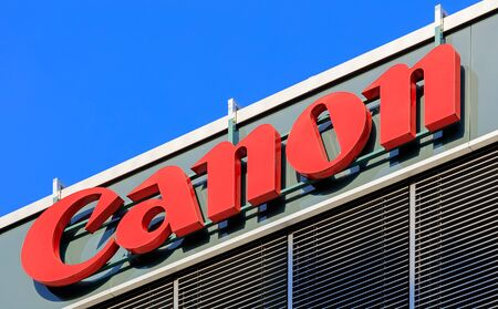 Wallisellen, Switzerland - 28 August, 2016: Canon sign on the upper part of the Canon Switzerland AG company office. Canon is a multinational corporation manufacturing imaging and optical products. Editorial
