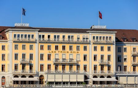 three kings: Basel, Switzerland - 27 August, 2016: Grand Hotel Les Trois Rois building facade. Grand Hotel Les Trois Rois (English: Hotel of the Three Kings) is a luxurious 5-star hotel in the Swiss city of Basel.