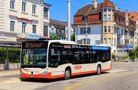 Solothurn, Swizerland - 10 July, 2016: a Mercedes-Benz Citaro bus on Bahnhofplatz square. Mercedes-Benz Citaro is a single-decker bus manufactured by Mercedes-BenzEvoBus, introduced in 1997.